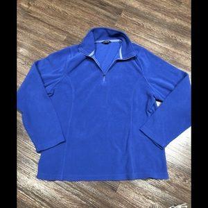 ✈️ Lands end blue fleece zip top sweatshirt L